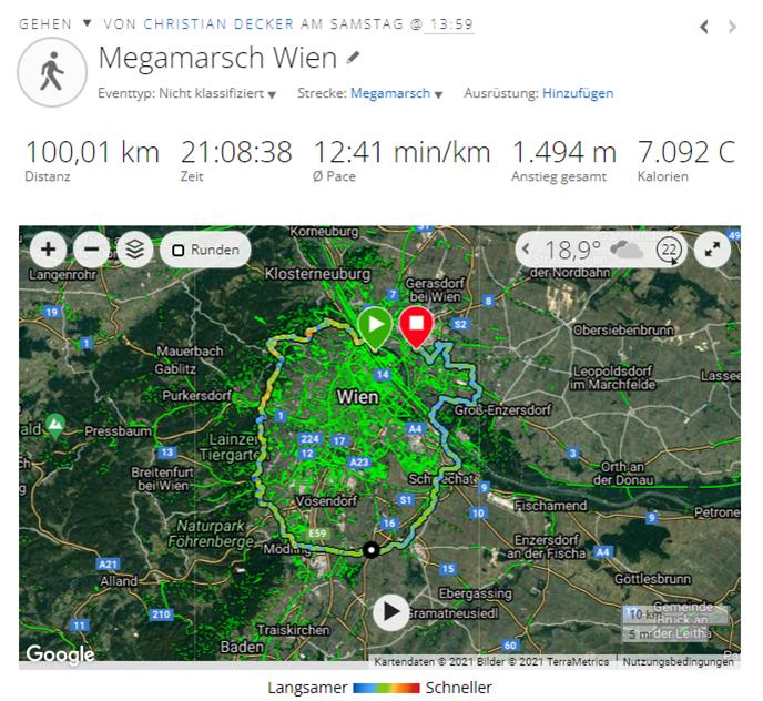 Die Hundert sind geschafft–Megamarsch Wien